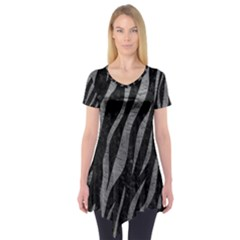 Skin3 Black Marble & Gray Leather Short Sleeve Tunic