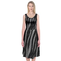 Skin3 Black Marble & Gray Leather Midi Sleeveless Dress