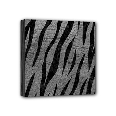 Skin3 Black Marble & Gray Leather (r) Mini Canvas 4  X 4