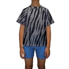 Skin3 Black Marble & Gray Leather (r) Kids  Short Sleeve Swimwear