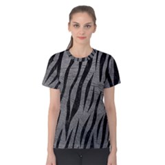 Skin3 Black Marble & Gray Leather (r) Women s Cotton Tee