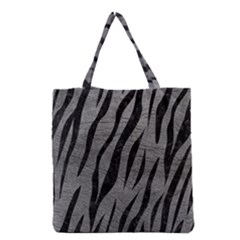 Skin3 Black Marble & Gray Leather (r) Grocery Tote Bag