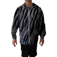 Skin3 Black Marble & Gray Leather (r) Hooded Wind Breaker (kids)