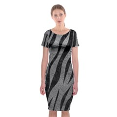 Skin3 Black Marble & Gray Leather (r) Classic Short Sleeve Midi Dress