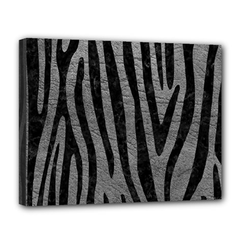 Skin4 Black Marble & Gray Leather Canvas 14  X 11