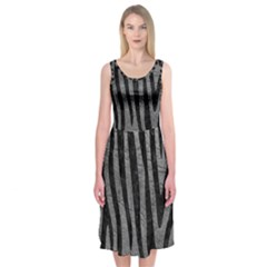 Skin4 Black Marble & Gray Leather Midi Sleeveless Dress