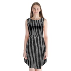 Skin4 Black Marble & Gray Leather Sleeveless Chiffon Dress