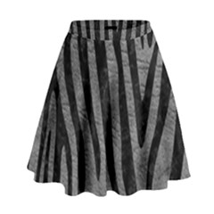 Skin4 Black Marble & Gray Leather High Waist Skirt