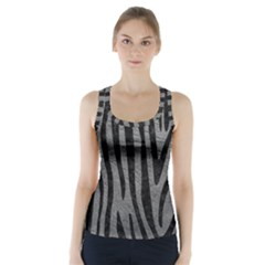 Skin4 Black Marble & Gray Leather Racer Back Sports Top