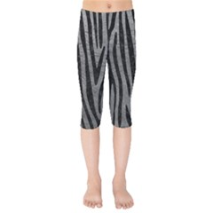 Skin4 Black Marble & Gray Leather Kids  Capri Leggings