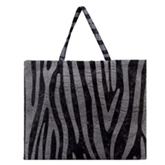 Skin4 Black Marble & Gray Leather (r) Zipper Large Tote Bag