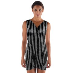 Skin4 Black Marble & Gray Leather (r) Wrap Front Bodycon Dress