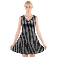 Skin4 Black Marble & Gray Leather (r) V Neck Sleeveless Skater Dress