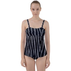 Skin4 Black Marble & Gray Leather (r) Twist Front Tankini Set