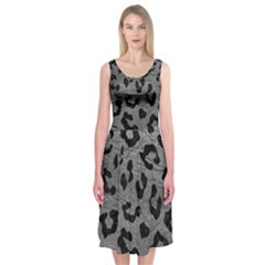 Skin5 Black Marble & Gray Leather Midi Sleeveless Dress