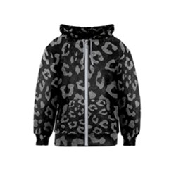 Skin5 Black Marble & Gray Leather (r) Kids  Zipper Hoodie