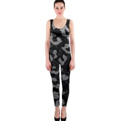 Skin5 Black Marble & Gray Leather (r) Onepiece Catsuit