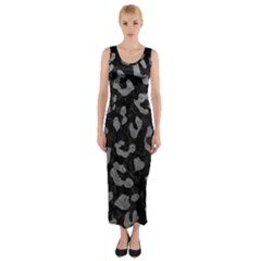 Skin5 Black Marble & Gray Leather (r) Fitted Maxi Dress