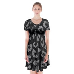 Skin5 Black Marble & Gray Leather (r) Short Sleeve V Neck Flare Dress