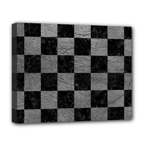 Square1 Black Marble & Gray Leather Deluxe Canvas 20  X 16