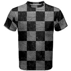 Square1 Black Marble & Gray Leather Men s Cotton Tee
