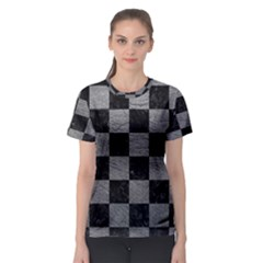 Square1 Black Marble & Gray Leather Women s Sport Mesh Tee