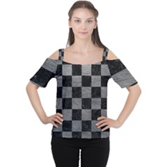 Square1 Black Marble & Gray Leather Cutout Shoulder Tee