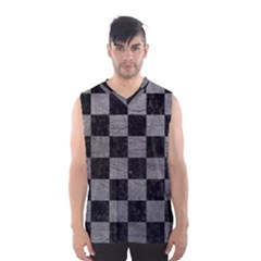 Square1 Black Marble & Gray Leather Men s Basketball Tank Top