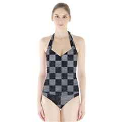 Square1 Black Marble & Gray Leather Halter Swimsuit