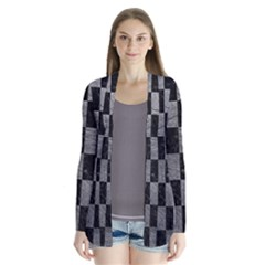 Square1 Black Marble & Gray Leather Drape Collar Cardigan