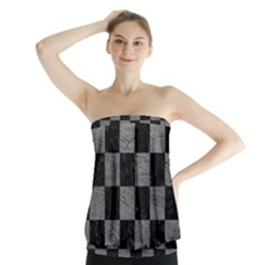 Square1 Black Marble & Gray Leather Strapless Top