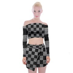Square1 Black Marble & Gray Leather Off Shoulder Top With Mini Skirt Set