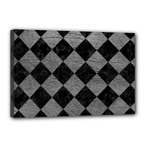 Square2 Black Marble & Gray Leather Canvas 18  X 12