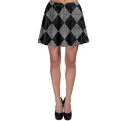 Square2 Black Marble & Gray Leather Skater Skirt
