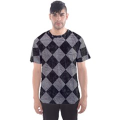 Square2 Black Marble & Gray Leather Men s Sports Mesh Tee