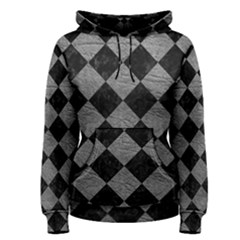 Square2 Black Marble & Gray Leather Women s Pullover Hoodie