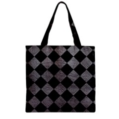 Square2 Black Marble & Gray Leather Zipper Grocery Tote Bag