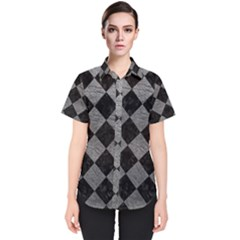 Square2 Black Marble & Gray Leather Women s Short Sleeve Shirt