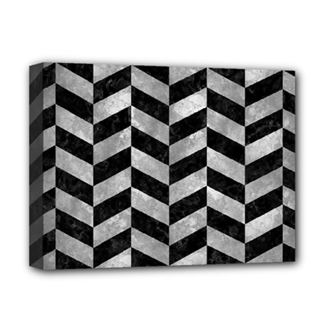Chevron1 Black Marble & Gray Metal 2 Deluxe Canvas 16  X 12