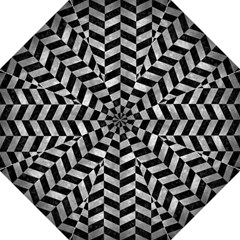 Chevron1 Black Marble & Gray Metal 2 Golf Umbrellas