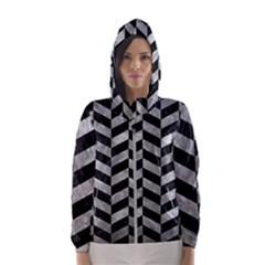Chevron1 Black Marble & Gray Metal 2 Hooded Wind Breaker (women)