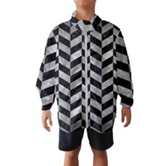 Chevron1 Black Marble & Gray Metal 2 Wind Breaker (kids)