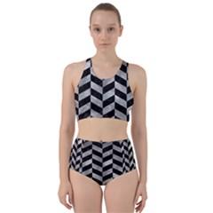 Chevron1 Black Marble & Gray Metal 2 Racer Back Bikini Set