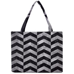 Chevron2 Black Marble & Gray Metal 2 Mini Tote Bag