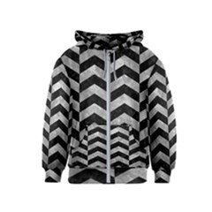 Chevron2 Black Marble & Gray Metal 2 Kids  Zipper Hoodie