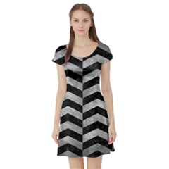 Chevron2 Black Marble & Gray Metal 2 Short Sleeve Skater Dress