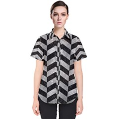 Chevron2 Black Marble & Gray Metal 2 Women s Short Sleeve Shirt