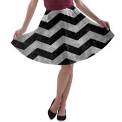 Chevron3 Black Marble & Gray Metal 2 A Line Skater Skirt