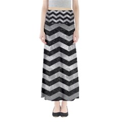Chevron3 Black Marble & Gray Metal 2 Full Length Maxi Skirt