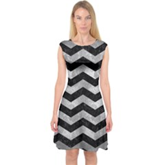 Chevron3 Black Marble & Gray Metal 2 Capsleeve Midi Dress